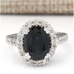 5.28 CTW Natural Blue Sapphire And Diamond Ring In 18K White Gold