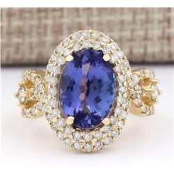 5.11 CTW Natural Tanzanite And Diamond Ring In 18K Yellow Gold