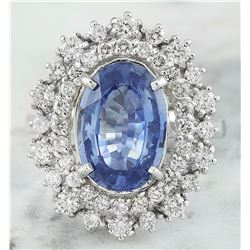 6.10 CTW Sapphire 14K White Gold Diamond Ring
