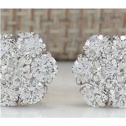 2.80 CTW Natural Diamond Earrings 14K Solid White Gold