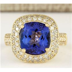 5.27 CTW Natural Tanzanite And Diamond Ring In 18K Yellow Gold