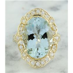 6.43 CTW Aquamarine 18K Yellow Gold Diamond Ring