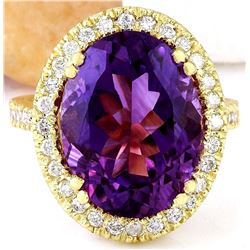 9.10 CTW Natural Amethyst 14K Solid Yellow Gold Diamond Ring