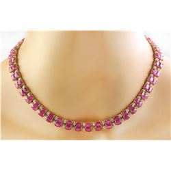 64.30 CTW Ruby 14K Yellow Gold Diamond Necklace
