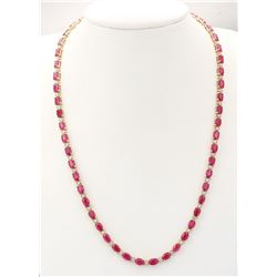 30.65 CTW Natural African Ruby And Diamond Necklace In 14k Yellow Gold