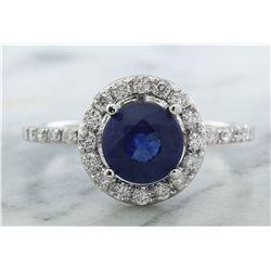 2.61 CTW Sapphire 18K White Gold Diamond Ring