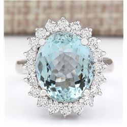 7.21 CTW Natural Aquamarine And Diamond Ring In 18K White Gold