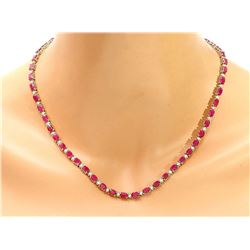 30.75 CTW Natural Ruby 14K Solid Yellow Gold Diamond Necklace