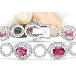 11.77 CTW Natural Tourmaline 14K Solid White Gold Diamond Bracelet