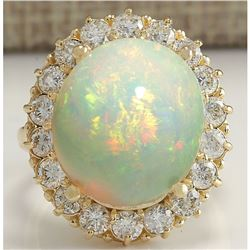 13.541 CTW Natural Opal And Diamond Ring In 14K Solid Yellow Gold