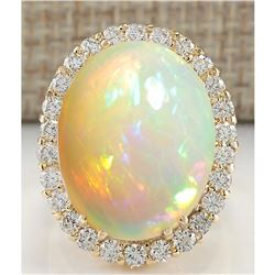 15.88 CTW Natural Opal And Diamond Ring 18K Solid Yellow Gold