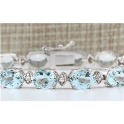25.755 CTW Natural Aquamarine Diamond Bracelet In 14k Solid White Gold