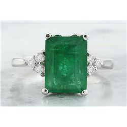 3.55 CTW Emerald 18K White Gold Diamond Ring
