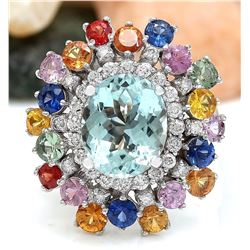 8.03 CTW Natural Aquamarine, Sapphire 18K Solid White Gold Diamond Ring