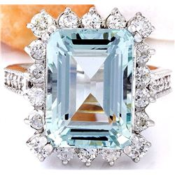 10.73 CTW Natural Aquamarine 14K Solid White Gold Diamond Ring