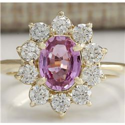 2.37 CTW Natural Pink Ceylon Sapphire Diamond Ring 14K Solid Yellow Gold