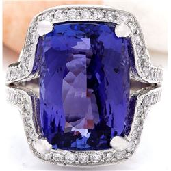 15.19 CTW Natural Tanzanite 18K Solid White Gold Diamond Ring