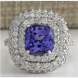 6.88 CTW Natural Tanzanite Diamond Ring 18K Solid White Gold