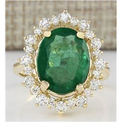 6.77 CTW Natural Emerald And Diamond Ring In 14k Yellow Gold