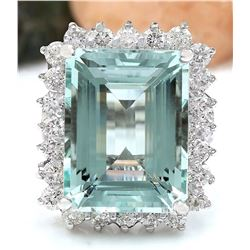 13.08 CTW Natural Aquamarine 18K Solid White Gold Diamond Ring