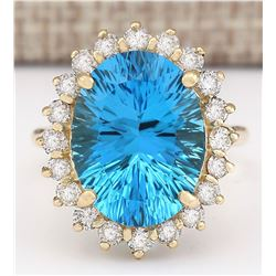 12.63 CTW Natural Blue Topaz And Diamond Ring In 18K Yellow Gold