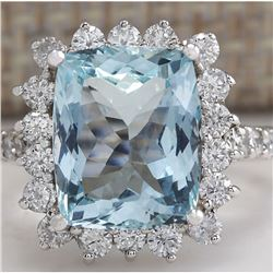 6.01 CTW Natural Aquamarine And Diamond Ring In 18K White Gold