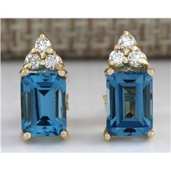 2.65 CTW Natural Topaz And Diamond Earrings 18K Solid Yellow Gold