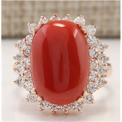 9.53 CTW Natural Coral And Diamond Ring In 18K Rose Gold