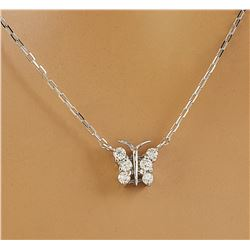 0.20 CTW Diamond 14K White Gold Butterfly Necklace
