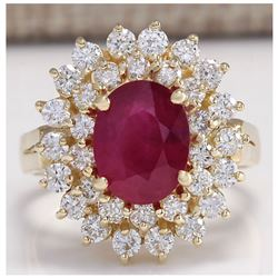 3.27 CTW Natural Ruby And Diamond Ring 18K Solid Yellow Gold
