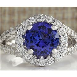 3.86 CTW Natural Tanzanite And Diamond Ring 18K Solid White Gold