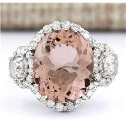 7.21 CTW Natural Morganite And Diamond Ring In 14k White Gold