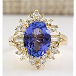 4.62 CTW Natural Tanzanite And Diamond Ring In 18K Yellow Gold