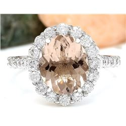 3.94 CTW Natural Morganite 18K Solid White Gold Diamond Ring