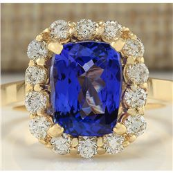4.15 CTW Natural Tanzanite And Diamond Ring In 18K Yellow Gold