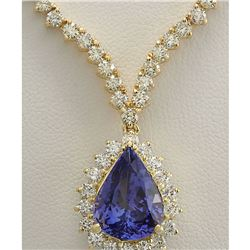 16.67 CTW Natural Tanzanite And Diamond Necklace In 14K Yellow Gold