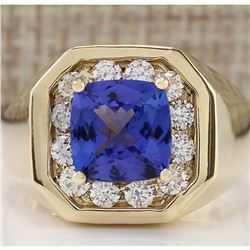 MENS 4.04 CTW Natural Blue Tanzanite And Diamond Ring 14k Solid Yellow Gold