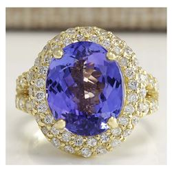 8.54CTW Natural Tanzanite And Diamond Ring In 18K Yellow Gold