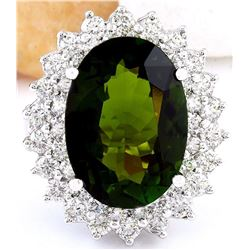10.29 CTW Natural Tourmaline 14K Solid White Gold Diamond Ring