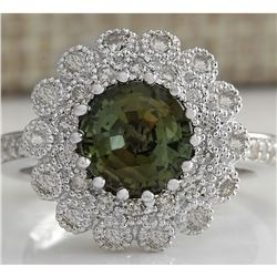 3.66 CTW Natural Green Sapphire Diamond Ring 18K Solid White Gold