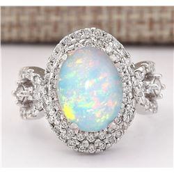 5.07 CTW Natural Opal And Diamond Ring In 14k White Gold