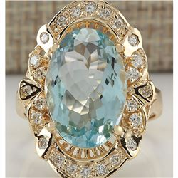 6.43 CTW Natural Blue Aquamarine And Diamond Ring 18K Solid Yellow Gold