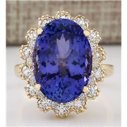 12.38 CTW Natural Tanzanite And Diamond Ring In 18K Yellow Gold