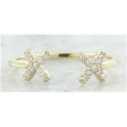 0.10 CTW Diamond 18K Yellow Gold Double X Open Front Ring
