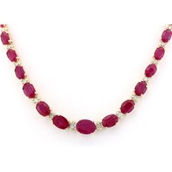 33.20 CTW Natural African Ruby And Diamond Necklace In 14k Yellow Gold