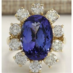 10.17 CTW Natural Blue Tanzanite And Diamond Ring In 18K Solid Yellow Gold