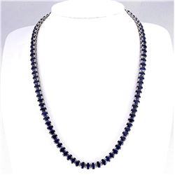 62.00 CTW Natural Blue Sapphire Necklace In 14k White Gold