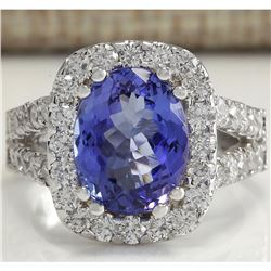 5.62 CTW Natural Blue Tanzanite And Diamond Ring 18K Solid White Gold