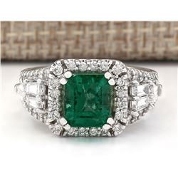 4.05 CTW Natural Emerald And Diamond Ring In 18K White Gold