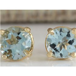 1.06 CTW Natural Blue Aquamarine Earrings In 14K Yellow Gold